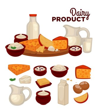 Set of healthy dairy products