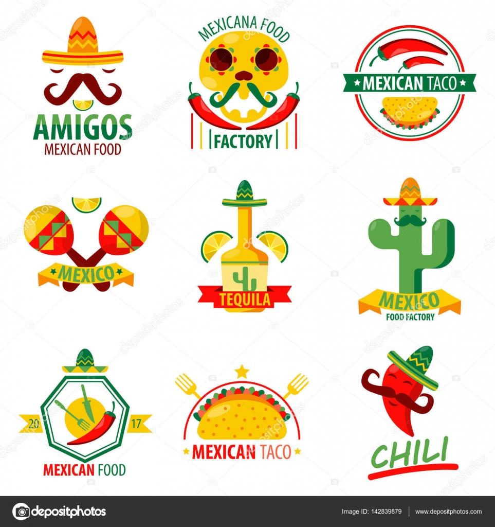 Emblemas de logo de comida mexicana — Archivo Imágenes Vectoriales ...
