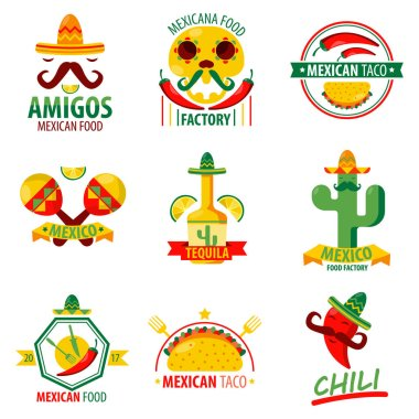 Mexican food logo emblems