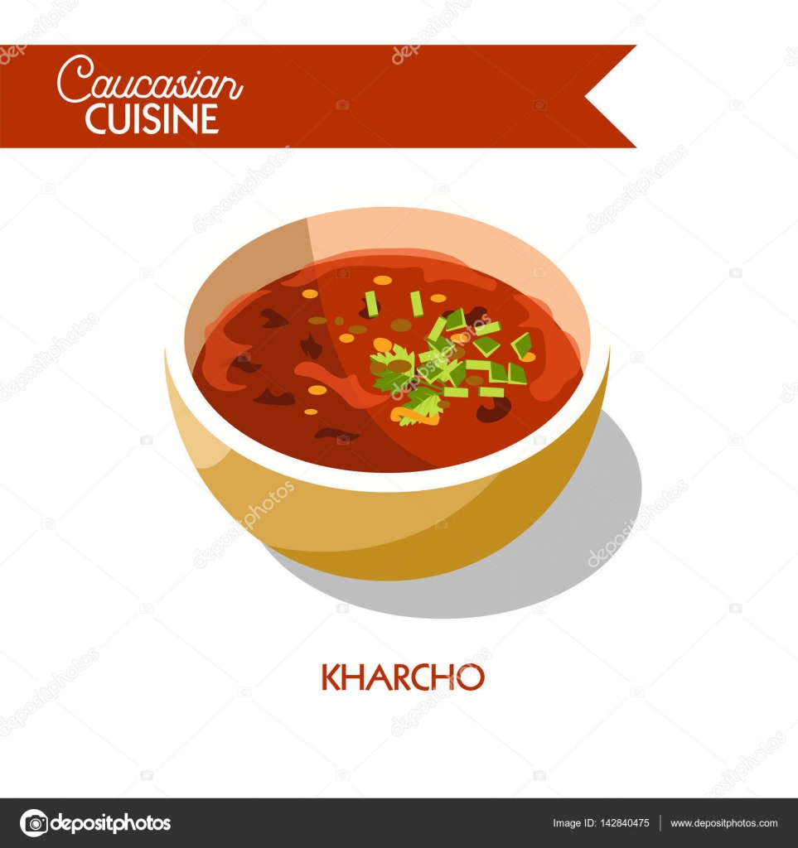 Kharcho sopa cocina georgiana Caucásica — Vector de stock ...