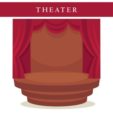 Theatre stage with red curtains