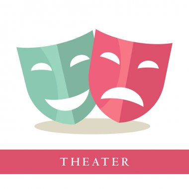 Theatre pink and blue masks icons