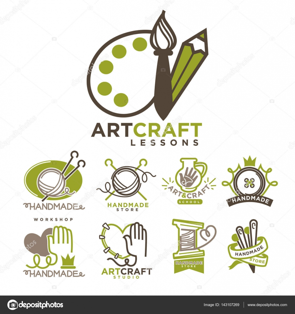 Art And Handmade Craft Logo Templates Flat Set Stock Vector