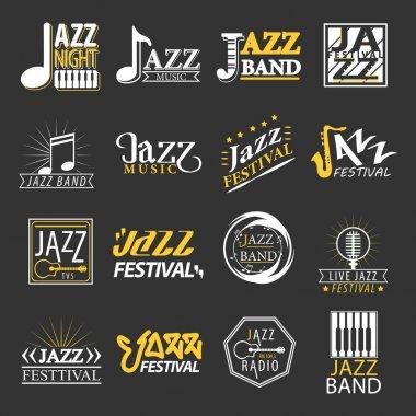 Jazz festival logos set