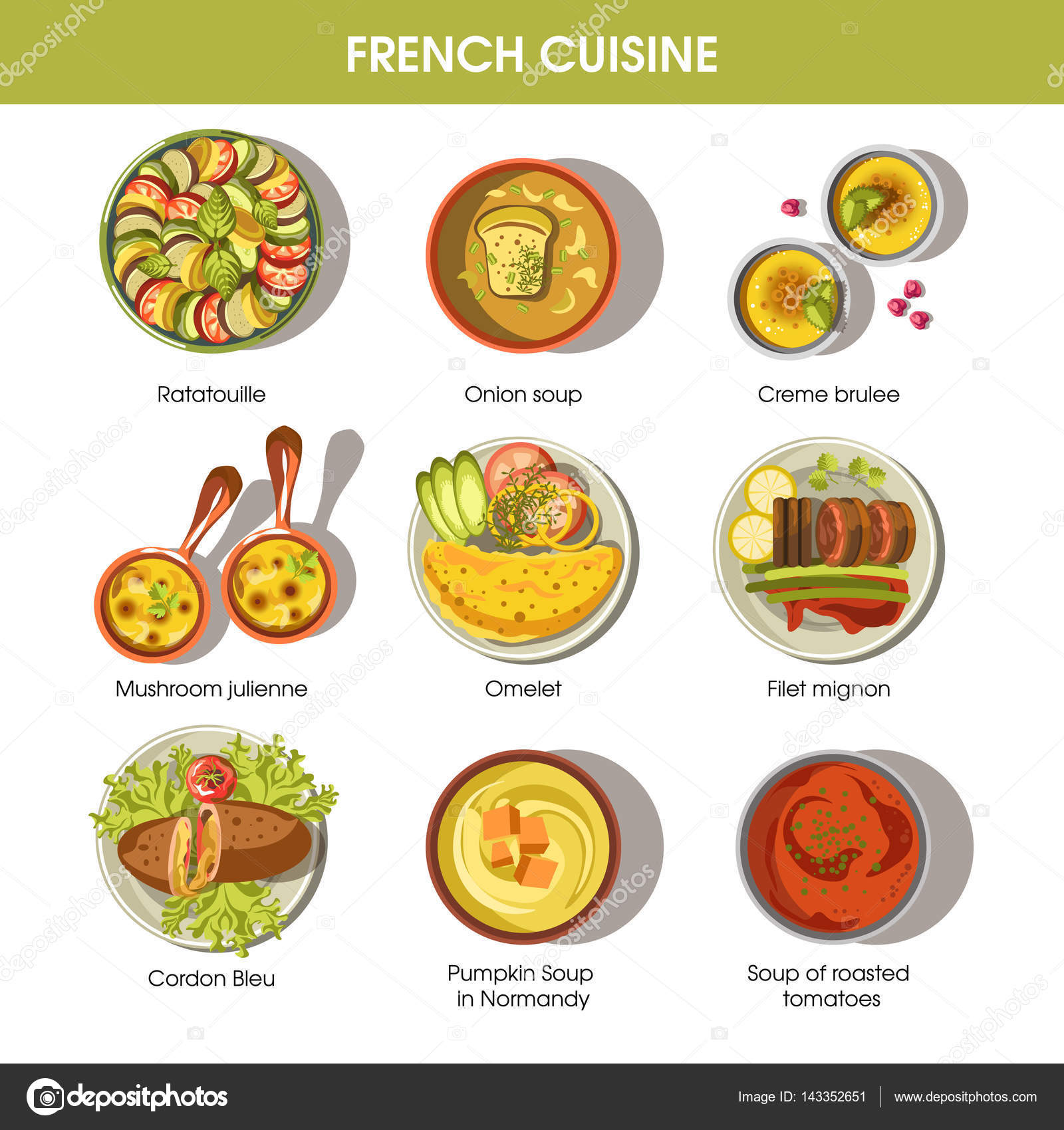 French cuisine dishes templates stock vector for Cuisine francaise