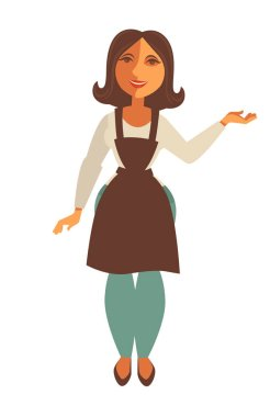 Saleswoman in trade apron