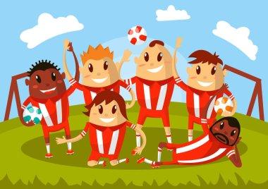 Football team waving hands