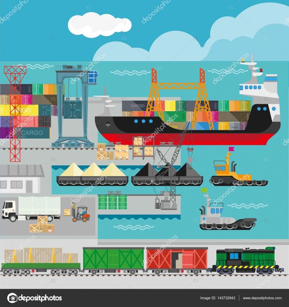 Logistics in port infographics template — Stock Vector © Sonulkaster ...