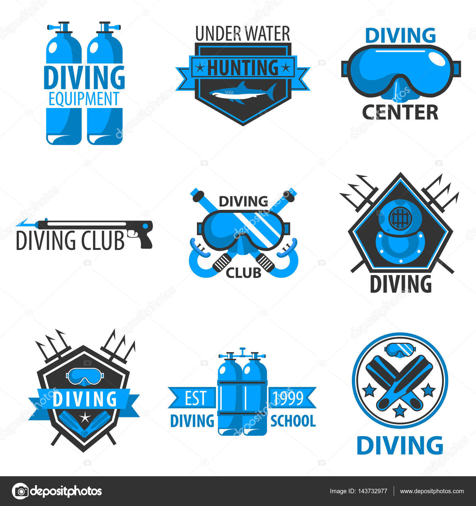 Diving Center Or Underwater Fish Hunting Club Logo Templates Vector Symbols Of Scuba Mask Oxygen Equipment And Flippers Icons Shark Trident