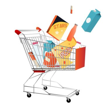Shopping trolley with purchases