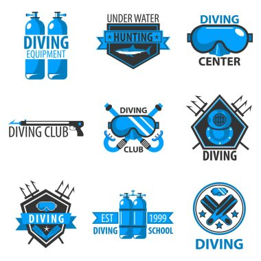 Scuba diving template icons