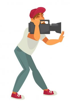 Film director with video camera