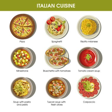 Italian cuisine flat colorful poster