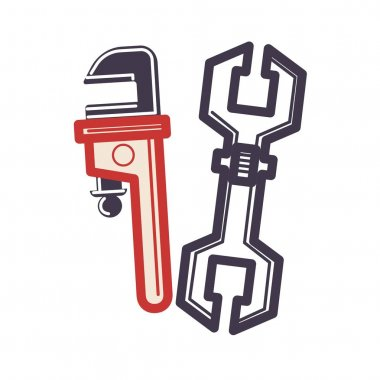 Two adjustable wrenches icons