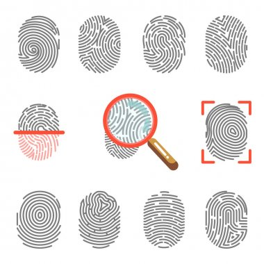 Fingerprints security icons