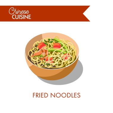 Fried noodles in bowl icon
