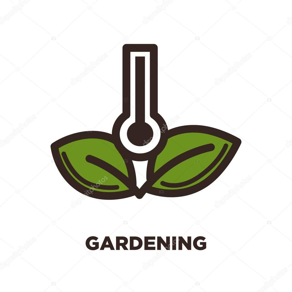 Gardening logo with thermometer