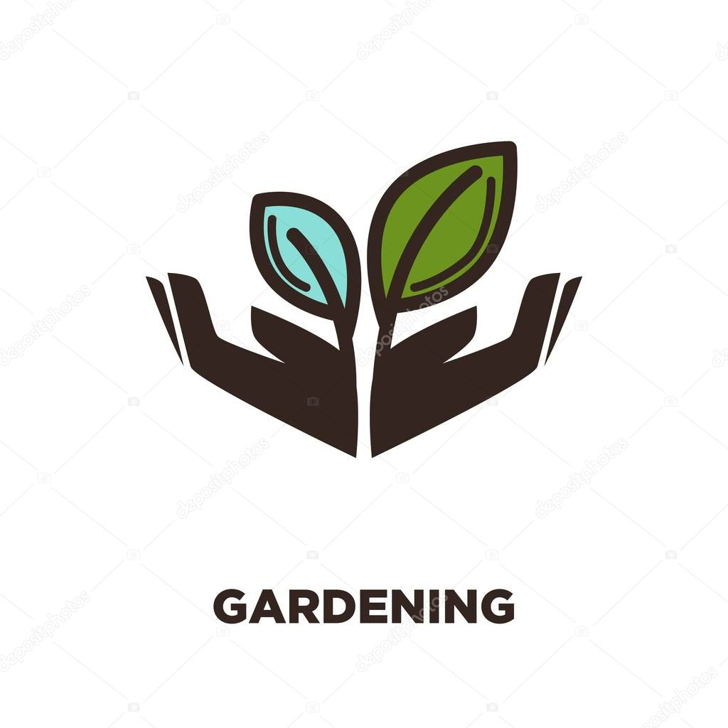 Plant growing from hands icon