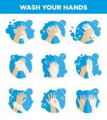 Fotografie Hands washing icons set