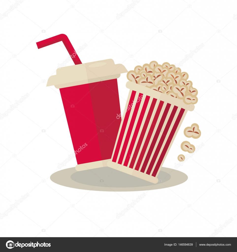 Schüssel Popcorn und soda — Stockvektor © Sonulkaster #146594639