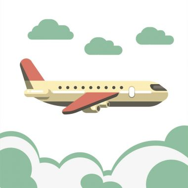 Passenger beige airplane with pink tail and isolated over azure clouds on white. Vector colorful illustration of fast mean of transportation by air for carrying people. Aircraft high in sky. stock vector