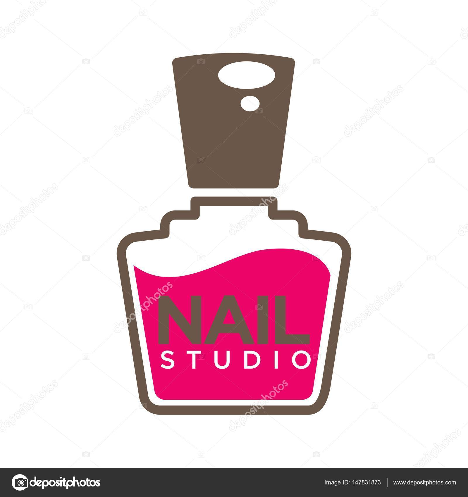 Manicure salon logo template stock vector sonulkaster 147831873 nails design studio or manicure salon logo template pink nail polish bottle with cap icon vector by sonulkaster prinsesfo Image collections
