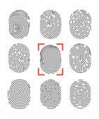 Fotografia Set di icone di impronte digitali