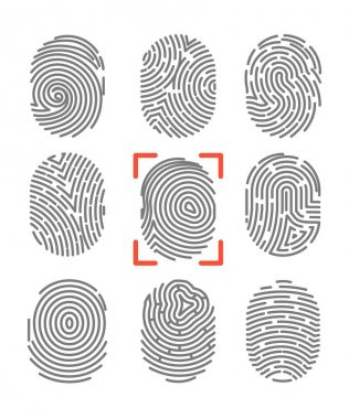 set of fingerprints icons
