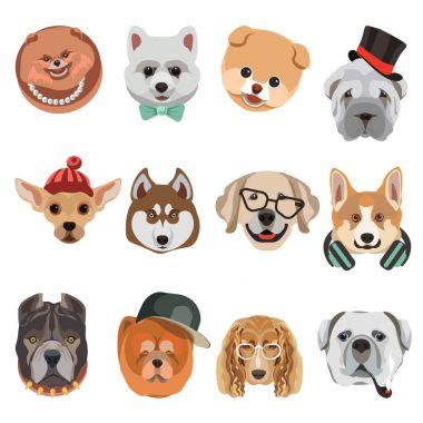 Funny cartoon dogs muzzles