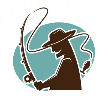 Fisher with fishing rod logo template