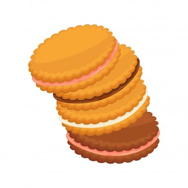 Sandwich biscuits filled with cream