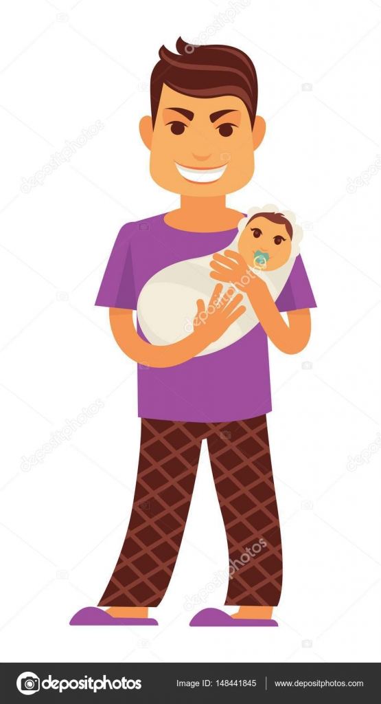 Young father man holding newborn baby — Stock Vector ...