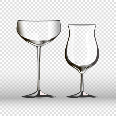 Glasses glassware 3D realistic icons