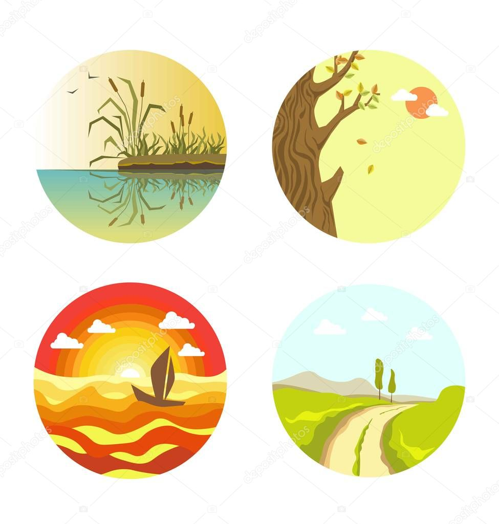 Nature views on four circles