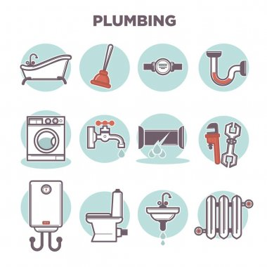 Plumbing template with flat icons