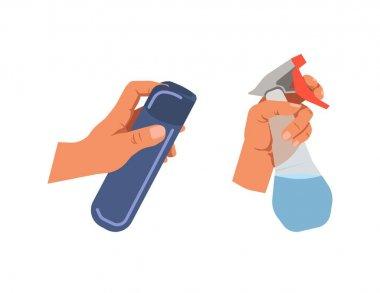 Hands holding bottle sprays