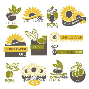 Olive and sunflower oil icons