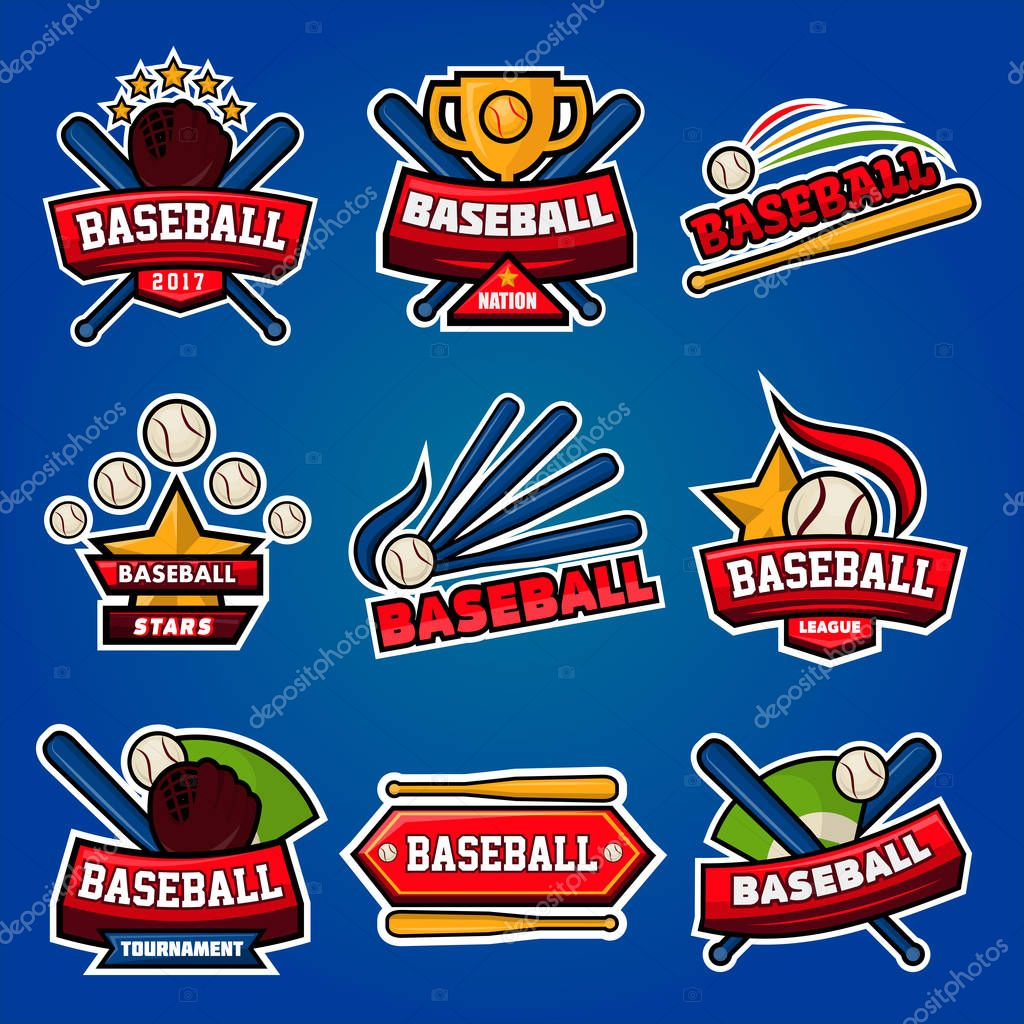 Baseball logotypes with equipments poster