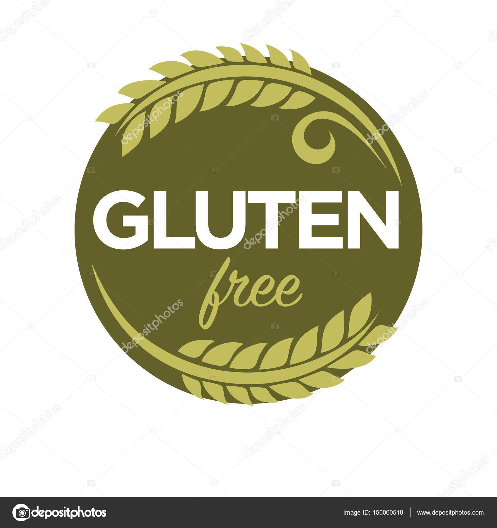 gluten free in cereal grains logo � stock vector