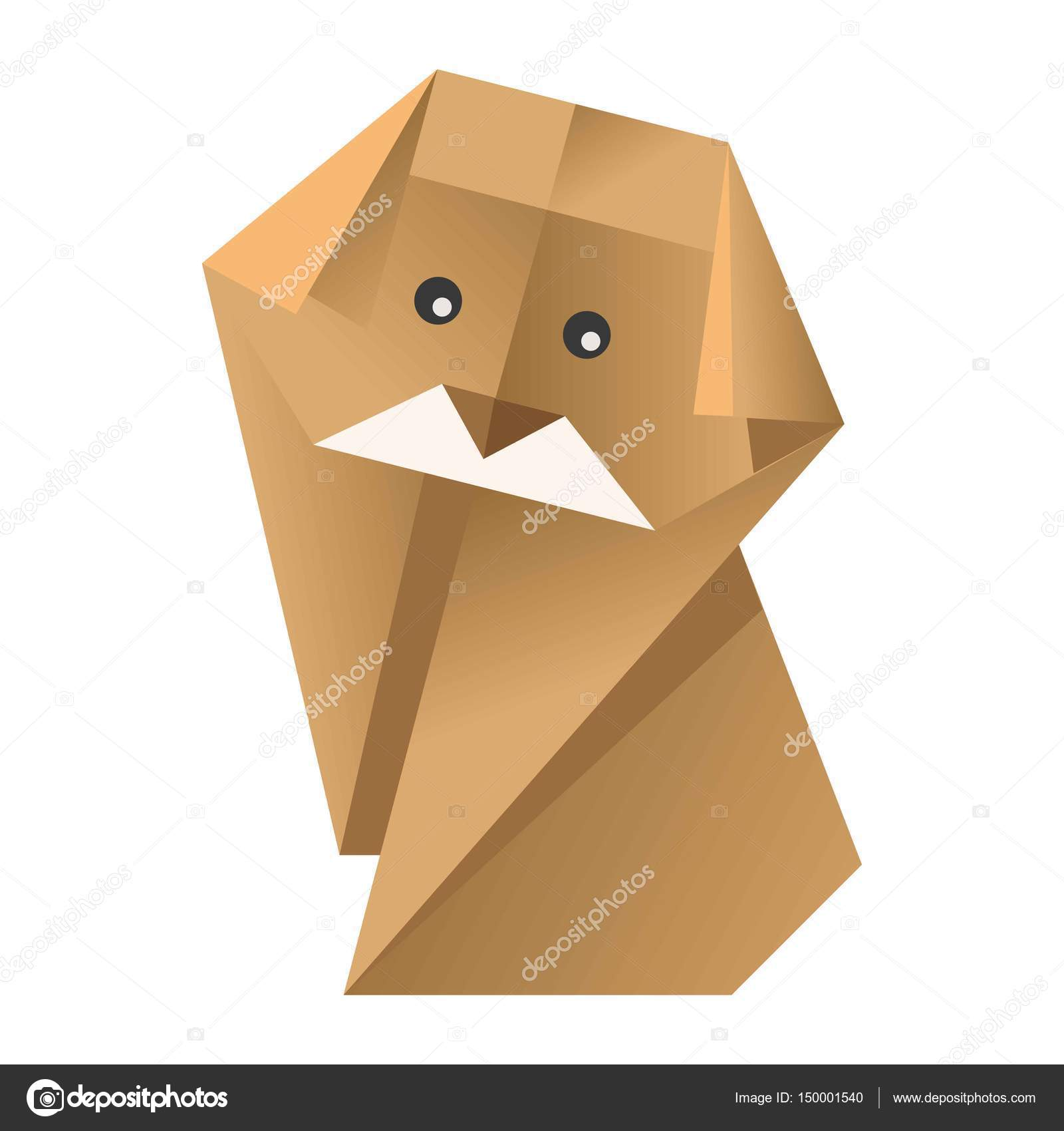 Paper Origami Colorful Dog With Black Eyes Isolated On White Vector Flat Illustration Yellow Domestic Animal Made Of Cardboard Human Craftsmanship Figure