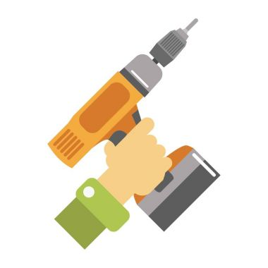 Hand with screwdriver illustration