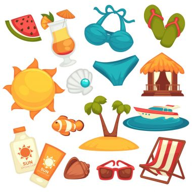 Summer holiday equipments and clothes