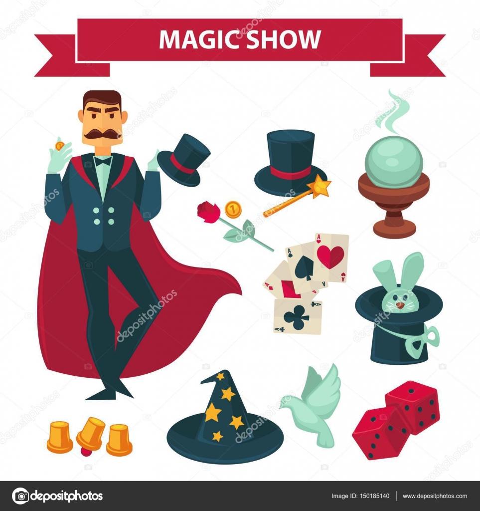 Elementos y accesorios de show de magia. Circo ilusionista o mago hombre en  manto de prestidigitador con conejo conejo en el sombrero a27eceafcf6