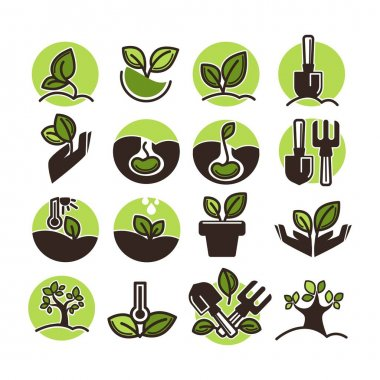 Tree planting and green gardening set