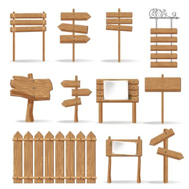 Wooden signages and direction signs