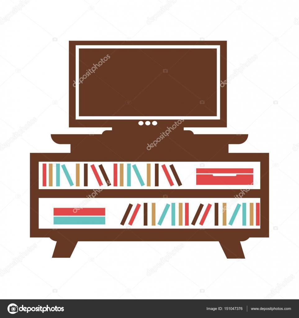 Breedbeeld-Tv op kleine boekenkast met gekleurde boeken ...