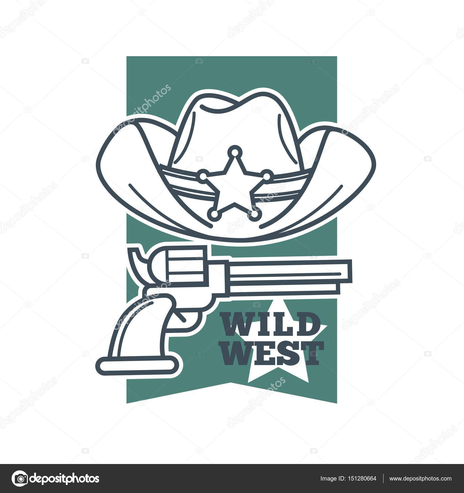 Hat and revolver with wild west words stock vector sonulkaster vector illustration of hat with sheriff star and a revolver gun with wild west text symbol vector by sonulkaster biocorpaavc