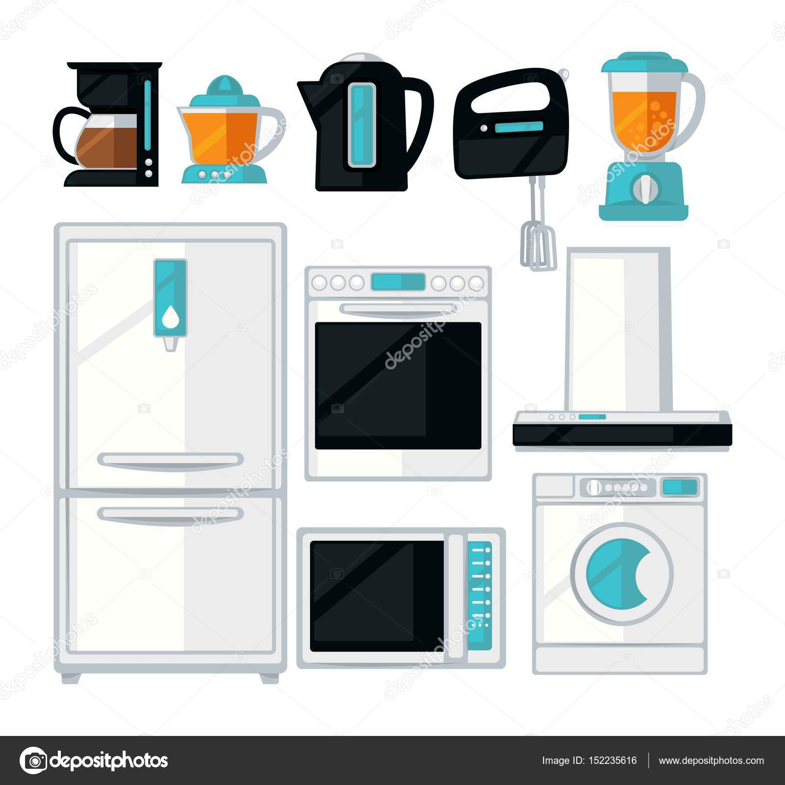 Home kitchen cooking appliances vector flat icons set — Stock Vector ...