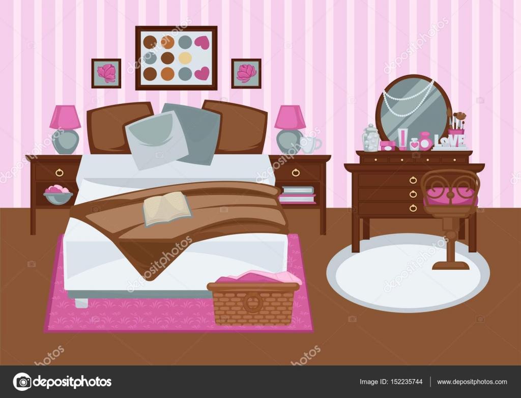 Chambre à Coucher Pour Fille Dans Les Plat Illustration Couleurs Rose.  Image Colorée De Vecteur De Contemporain Chambre Meublée Pour Personne De  Sexe ...