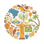 Brazílie Cestování okružní ikony a vektorové památky plakát